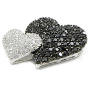 """Pendant silver """"Love Divine"""" noir blanc."""