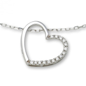 0.10ct Diamond Necklace 925 Sterling Silver Diamond Heart Pendant 45cm Chain by Miore MSL002N