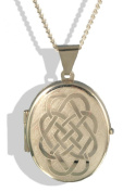 Sterling Silver Large Celtic Oval Locket & Chain.