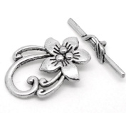 Housweety 10 Sets Silver Tone Flower Toggle Clasps 30mmx6mm 30mmx20mm