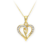 9ct Yellow Gold Pave Set Diamond Heart Pendant and Chain of 46cm