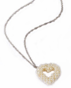 Lustrous- Hand-Woven Pearl Heart Pendant Sterling Silver Necklace