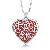 J-JAZ Heart Shape Red Background Fancy Locket Suplied with Adjustable 41cm /46cm Chain