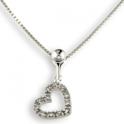 9Ct White Gold Heart-Shaped Pendant With 13 Diamonds 0.07 Carat By Goldmaid