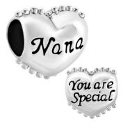 """ Love Nana Charm "" Silver Plated Bead Fit Pandora Bracelet"