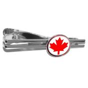 Canada Maple Leaf Flag Round Necktie Tie Bar Clip Clasp Tack - Silver