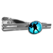 Scuba Diver - Diving Underwater Round Necktie Tie Bar Clip Clasp Tack - Silver
