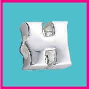 Silver Bead Letter H Genuine Solid Pure 925 Stamped Sterling Silver Bead Charm Letter Initial Alphabet for European Bracelet and Chains - 3D Slide on/off - Filoro