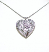 Silver Tone Love Heart Flower Antique Vintage Style Gift Dress Locket Necklace Pendant Jewellery