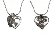 Love Heart Flower Antique Silver Vintage Style Gift Dress Locket Necklace Pendant Jewellery