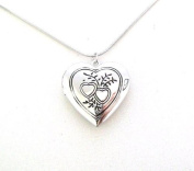 Love Heart Leaf Antique Silver Vintage Style Gift Dress Locket Necklace Pendant Jewellery