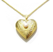 Love Heart Flower Pearl Antique Vintage Style Gold Finish Gift Dress Locket Necklace Pendant Jewellery