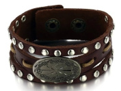 JBG Jewellery Fashion Vintage Genuine Cow Leather Bracelets Rivet Cool Wrap Immemorial Plate Bangle Adjustable Length Chain Men's Wristband Link Retro Gift in a Nice Jewellery Box