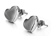 JBG New Fashion Women's Earrings Smooth Pure Heart Titanium Steel Stud Earring Anti-Allergy New Design Ornaments in a Nice Gift Box