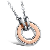 """JBG Jewellery Elegant Stainless Steel Necklace Crystal Cubic Zirconia Inlaid Engraved """"Love Forever"""" Rose Gold Circle Pendant Chain Necklet For Women With Jewellery Box"""