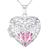 Silver Ladies' Filigree Heart Locket on 46cm Curb Chain with Removable Pink Cubic Zirconia Heart Inside