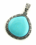 Jewellery Of The Planet Turquoise Shang Dynasty Teardrop Stone Pendant In Ornate Silver-Metal Setting