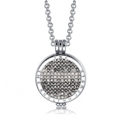 Interchangeable Coin Pendant Necklace Silver Plated including Belcher Chain '25-80cm - Black Hematite & White