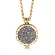 Interchangeable Coin Pendant Necklace Gold Plated including Belcher Chain '25-80cm - Black Diamond