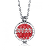 Interchangeable Coin Pendant Necklace Silver Plated including Belcher Chain '25-80cm - Red & White
