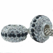ONE GENUINE SOLID STERLING SILVER 925 AUSTRIAN CRYSTAL CHARM BEAD TO FIT PANDORA, TROLLBEADS, CHAMILIA, BIAGI, BACI, TEDORA, AMORE AND ANY SIMILAR 3MM BRACELETS