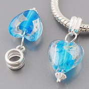 Genuine solid sterling silver 925 Hallmarked Charm / Bead - Light Blue Clear Murano Glass Heart with inset foil for an extremely unusual unique look.. They fit Pandora, Biagi, Chamilia and similar European bracelets and necklaces and comes in a pretty ..