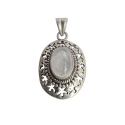 Delicately Hand Carved Oval Moon Stone Pendant in 925 Streling Silver