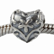 ONE GENUINE SOLID STERLING SILVER 925 PATTERNED HEART CHARM - TO FIT PANDORA, TROLLBEADS, CHAMILIA, BIAGI, BACI, TEDORA, AMORE AND ANY SIMILAR 3MM BRACELETS