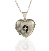 Sterling Silver Harlequin Heart Locket. Satin Heart Locket.