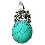 Turquoise and Zirconia Gemstone Pendant in 925 Sterling Silver