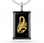 Silver Scorpion Necklace - Rectangular Onyx Pendant Inscribed in 24ct Gold - Tribal Jewellery - Unique Gifts for Him
