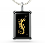 Silver Reptile Jewellery - Salamander Necklace Inscribed in 24ct Gold on Black Onyx Stone - Lizard Pendant - Cool Gifts for Him