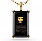 Che Guevara Pendant - Gold Plated Inspirational Necklace with Famous Speech Inscribed in 24ct Gold on Rectangular Onyx Gemstone