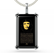 Silver Che Guevara Necklace - Inspirational Jewellery - Black Onyx Pendant Inscribed in 24ct Gold - Gift Ideas for Men