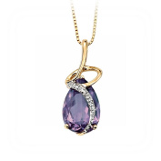 Elements Yellow Gold Coiled Pendant with Teardrop Amethyst and Diamonds