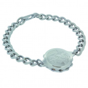 Talisman Stainless Steel Sos Talisman Bracelet - Ladies St. Christopher-19cm-Silver