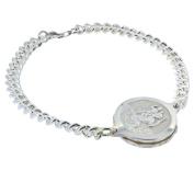 Talisman Sterling Silver Sos Talisman Bracelet - Ladies St. Christopher, Medium Chain-20cm-Silver