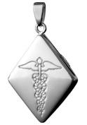 Infomedic 18ct White Gold Pendant - DIamond Shape
