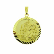 9ct Yellow Gold Plated on 0.925 Sterling Silver Round Diamond Cut 20mm St Christopher Pendant In Presentation Gift Box