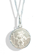 Sterling Silver Diamond Cut St.Christopher Pendant & Chain.