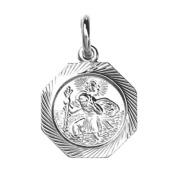 Silver 15x15mm hexagonal diamond cut edge St Christopher
