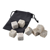 Primeshop-Sipping Stones - 9 Whisky Chilling Rocks 100% Pure, Black