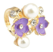 Blingalove Purple Flower and Pearl Ring