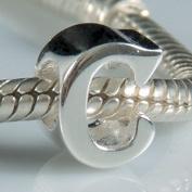C - Initial Letter - Sterling Silver Charm Bead - fits Pandora, Chamilia etc style Bracelets - SpangleBead