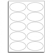 Multi Purpose White Permanent Oval Labels - 10 Labels Per Sheet - 500 Sheets 53mm x 95mm