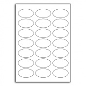Multi Purpose White Permanent Oval Labels - 21 Label Per Sheet - 500 Sheets 58.5mm x 34mm