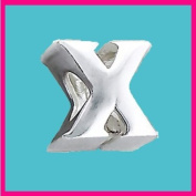 Silver bead Letter X Genuine Solid Pure 925 Stamped Sterling Silver Bead Charm Letter Initial Alphabet for European Bracelet and Chains - 3D Slide on/off - Filoro