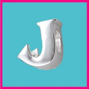 Silver Bead Letter J Genuine Solid Pure 925 Stamped Sterling Silver Bead Charm Letter Initial Alphabet for European Bracelet and Chains - 3D Slide on/off - QUEEN OF SILVER