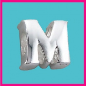 Silver Bead Letter M Genuine Solid Pure 925 Stamped Sterling Silver Bead Charm Letter Initial Alphabet for European Bracelet and Chains - 3D Slide on/off - QUEEN OF SILVER