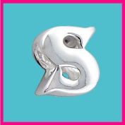 Silver Bead Letter S Genuine Solid Pure 925 Stamped Sterling Silver Bead Charm Letter Initial Alphabet for European Bracelet and Chains - 3D Slide on/off - QUEEN OF SILVER